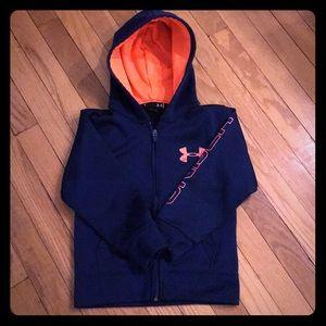 EUC Boys Under Armour Hooded Zip Sweatshirt Size 6